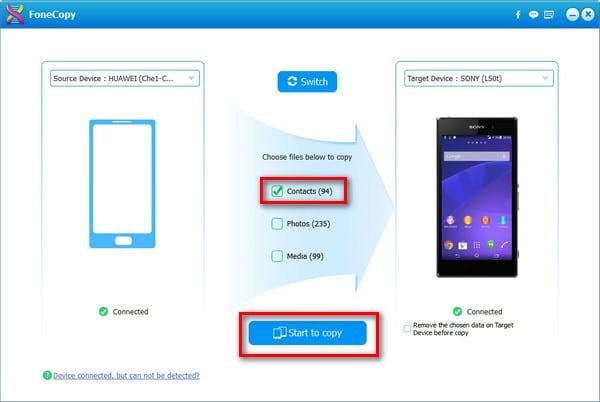 overdragen android contacten met nieuwe Android-telefoon